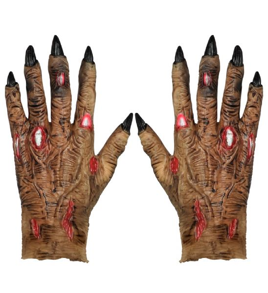 Adults Unisex Pair of Latex Zombie Hands Halloween Fancy Dress Costume Accessory